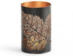 forest leaf cutout pillar candle holder