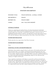 Police Resume Sample Resume Police Officer Job Description Law