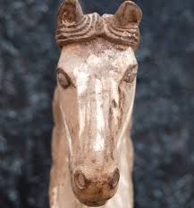 wonderful decorative circa 1920 hand carved solid wood horse that would have been originally used to mold either plaster statues or papier mache molds
