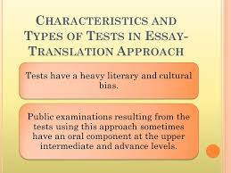 language testing approaches techniques ppt video online characteristics and types of tests in essay translation approach