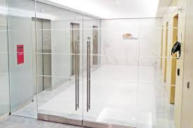 all glass entrance stainless steel elevator door portals doors back painted glass