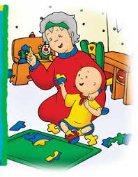 caillou solving puzzles with grandma
