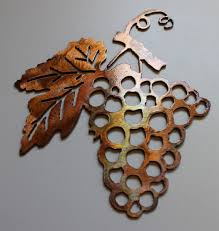 metal wall art decor small grape bushel on wine and grapes metal wall art with grape bushel copper bronze metal wall art
