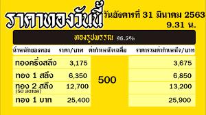 ราคาทองคำวันนี่ วันอังคารที่ 31 มีนาคม 2563 ราคาทองแท่งบาทละ ราคาทองรูปพรรณ วันนี้ 31/3/63 ล่าสุด - YouTube