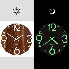 Hot <b>Luminous</b> Wall Clock,<b>12 Inch</b> Wooden Silent Non Ticking ...
