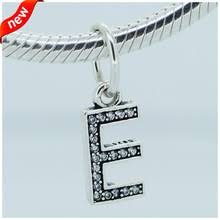 Beads Fit for Pandora bracelets New 100 Authentic 925 Sterling Silver Letter E Clear CZ Dangle 220x220