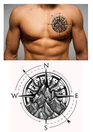 20 Compass Mountain Chest Tattoo Design Designer Andrija Protic