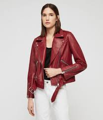 womens estae leather biker jacket ruby red image 1