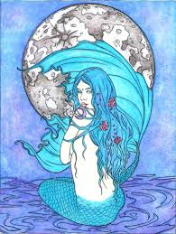Moon Mermaid From Mermaid Coloring Book