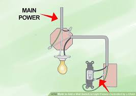 how to add a wall switch to light fixture controlled by a chain How To Wire A Pull Cord Light Switch Diagram image titled add a wall switch to light fixture controlled by a chain step 8 Light Switch Outlet Wiring Diagram