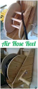 homemade hose reels air hose reel wood wire spool recycle ideas garden homemade hose reel cart