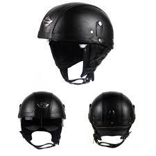 details about dot leather motorcycle half face helmet sun visor cruiser street bike scooter