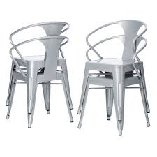 silver brushed metal chair woven. Carbon Loft Silver Tabouret Stacking Chairs (Set Of 4) - Free Shipping Today Overstock 12950045 Brushed Metal Chair Woven T