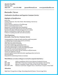 Bartending Resume Skills Bartender Resume