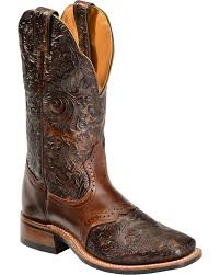 zoomed image boulet hand tooled dankan ranger cowgirl boots square toe brown hi res