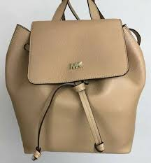 nwt michael kors womens junie medium leather flap backpack ernut