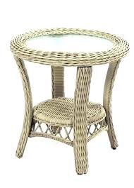 wicker end tables palm harbor outdoor round table in white pair and chairs for conservatory