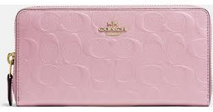 Lyst - Coach Accordion Zip Wallet In Signature Embossed Leather in Pink