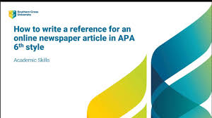 Journalmagazine Articles Apa 6th Edition Scu Referencing Guide