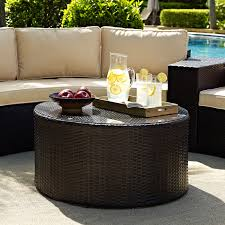 crosley furniture catalina outdoor wicker round glass top coffee table com