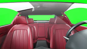 red leather interior of luxury black sport car green screen footage realistic 4k animation