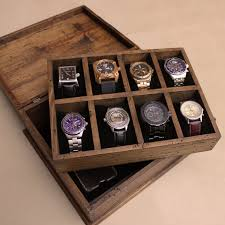 men s watch box watch box watch case wood watch box new personalized rustic men s watch box for 8 by ourweddinginvites