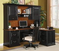 image of popular l shaped computer desk with hutch