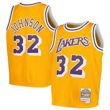 Throwback amp; Magic Ness Los Swingman Mitchell Johnson Youth Angeles Lakers Gold Jersey