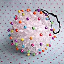 Decorated Styrofoam Balls Five homemade Christmas tree ornaments Red flowers Bulbs and 23