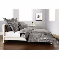 3pc DKNY City Line Grey Full Queen Quilt Standard Shams Geometric ... & DKNY City Line GREY Full / QUEEN QUILT Silver GEOMETRIC Bedding F Q, Donna  Karan Adamdwight.com