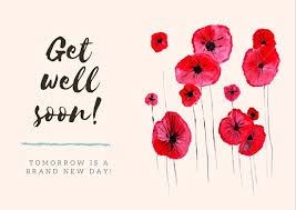 Get Well Soon Cards Printables Red Flowers Get Well Soon Card Templates By Canva