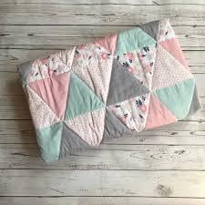 fl baby quilt baby girl quilt pink mint gray navy quilt toddler quilt baby girl bedding pink mint nursery fl nursery bedding