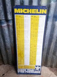 Michelin Tire Pressure Chart Car Michelin Tyre Pressure Chart Sold Vintage Automobilia