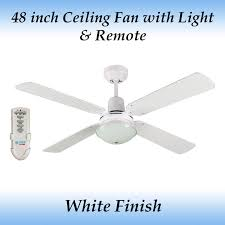 fias ramo 48 inch 1200mm white 4 blade ceiling fan with light remote control