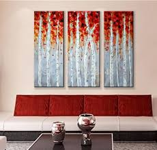 hand made 3 piece canvas wall art white red woods home decor modern picture set on canvas painting abstract winter tree pictures on wall art red with the abstract new york city oil painting hand painted 4 piece canvas