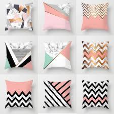 <b>Nordic Pink Marble</b> Geometric Printing Throw Pillows Case Black ...