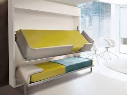 Bedroom Designs: Gray Yellow White Bedroom Suspended Beds - Small Space