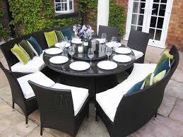 furniture trendy round outdoor dining table set 13 rattan furniture and modern chairs for patio backyard