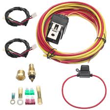 165 to 185 dual electric fan relay wiring harness thermostat sensor detail image