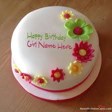 Write Name On Colorful Flowers Birthday Cake Happy Birthday Wishes