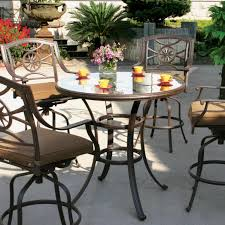 darlee ten star 5 piece cast aluminum patio bar set with swivel bar stools glass top table ultimate patio