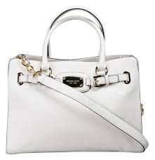 michael kors hamilton large satchel chain new with tags vanilla white cream gold hardware leather tote