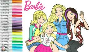 Barbie on a stool in the summer. Barbie And Sisters Coloring Book Page Barbie Skipper Stacie And Chelsea Sprinkled Donuts Youtube