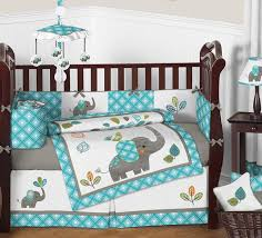 turquoise blue and grey sweet jojo jungle elephant for baby crib bedding set 1 of 3free see more