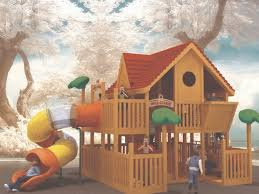 kids tree houses with slides. Wooden Timber Treehouse Play Ground Set With Spiral Tube Slide For Kids Centre Tree Houses Slides
