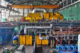 Machine Room In Thermal Power Plant With Electric Generators Stock