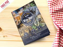 Free Two Fold Brochure Template Free Psd Beer And Wine Menu Bi Fold Brochure Psd By Psd Freebies