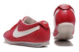 nike cortez women leather shoes dark red white