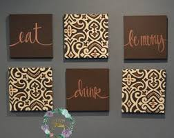 eat drink be merry wall art set custom canvas wall hangings brown dining room decor large living room art eat pray love wall decor sign on eat drink love canvas wall art with large love wall art etsy