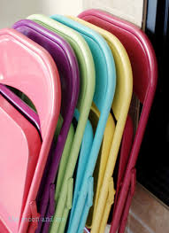spray painted folding chairs in rainbow colors they still metal folding chairs